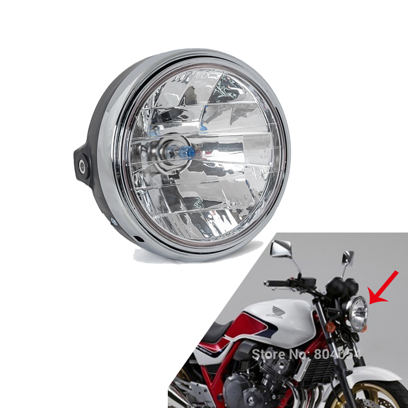 Halogen Headlight Round Chrome Headlamp Light Assy For Honda CB 400 600 900 919 1000 1100SF 1300 Hornet 600 900 VTR VTEC 250 Etc
