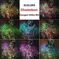 8 colores brillo de camaleón mezcla de brillo metálico forma de hexágono arte de uñas para decoraciones artesanales maquillaje pintura facial accesorios DIY