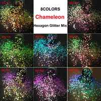 8COLORS Chameleon Glitter Mixed Metallic Luster Hexagon Shape Nail Art for Craft Decorations Makeup Facepainting DIY Accessories