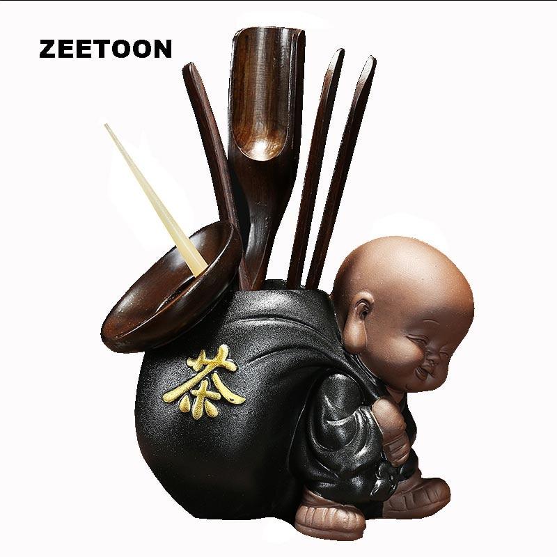 Zen Style Kung Fu Tea Set Tea Ceremony Accessories Set Utensils Clip Needle Ceramic Zisha Cans Tea Scoop Strainers Six Gentleman