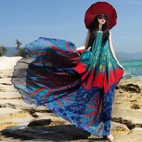 맥시 dress 프로모션 특별 제국 2017 보헤미안 휴가 dress 여성 플러스 사이즈 쉬폰 인쇄 긴 dress 여름