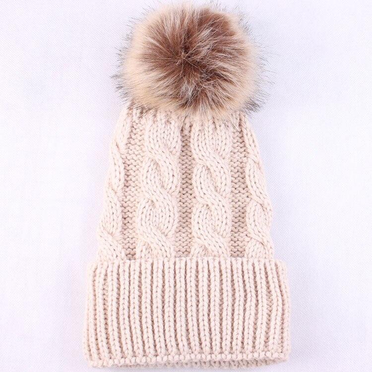 wholesale women Faux fur pompom hat Knitted beanie with fur pom women's winter hat Women Men Hip Hop Skullies Cap accessories