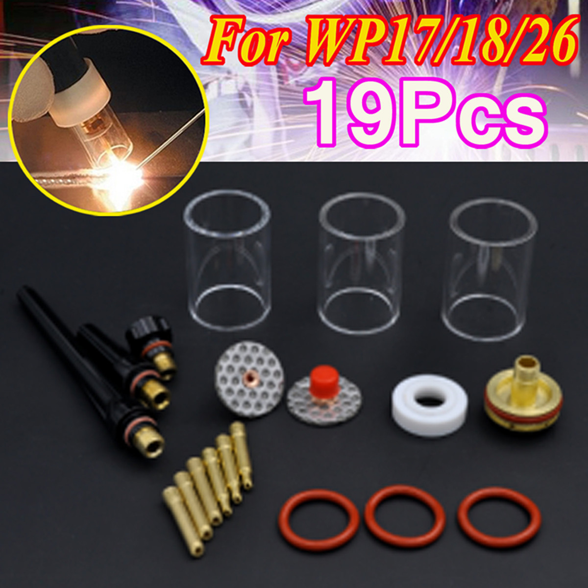 19PCs 1.0mm+2.4mm TIG Welding Torch Kit Tungsten Needle Clip Stubby Collet Body Gas Lens Pyrex Glass Cup for WP-17/18/26 Series 18 pk tig torch large gas lens wp 9 20 25 wp tungsten 0 04 1 16 3 32