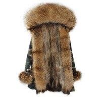 2017 бренд натуральным лисьим Мех животных пальто длинные Для женщин Натуральный мех парка зеленый черный натуральный мех енота меховой воро