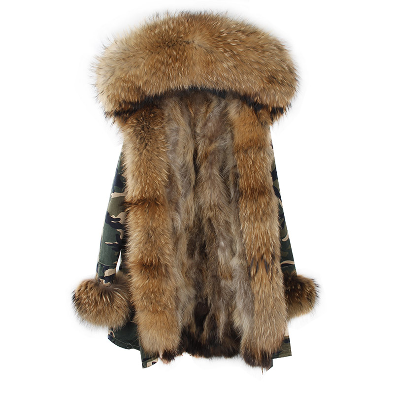 2017 Brand Real Fox Fur Coat Long Women Real Fur Parka Green Black Natural Raccoon Fur Collar Warm Jacket 2017 winter new clothes to overcome the coat of women in the long reed rabbit hair fur fur coat fox raccoon fur collar