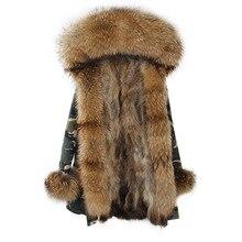 2017 Brand Real Fox Fur Coat Long Women Real Fur Parka Green Black Natural Raccoon Fur Collar Warm Jacket
