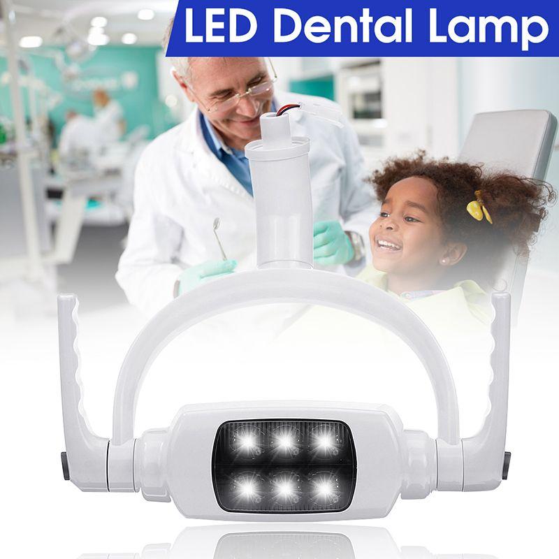 Projecteur à Induction de lumière orale de lampe dentaire de dents du blanc 6000 K 6 LED professionnel pur avec le bras pour le Type de plafond de chaise d'unité dentaire