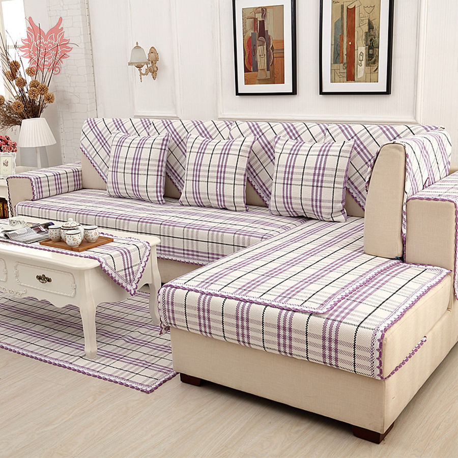 online get cheap sofa couches aliexpresscom  alibaba group - british style purple plaid cotton linen sofa cover lace decor slipcoverscanape fundas de sofa couch covers sp free shipping