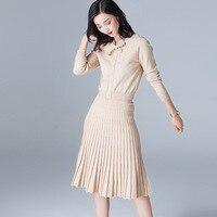 2018 Реальные полный осень новая Для женщин одежда, корейский Длинные рукава свитер, джемпер юбка, небольшой ароматный Бриз, платье, два костю