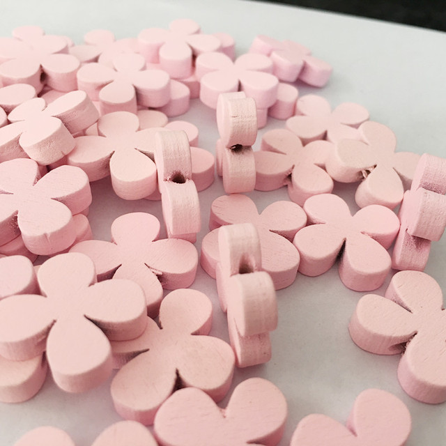 50pcs/pack Pink Flower Style Wood Buttons Sewing Decorative Wooden Buttons For Arts Crafts & Collections Nice Photography Props