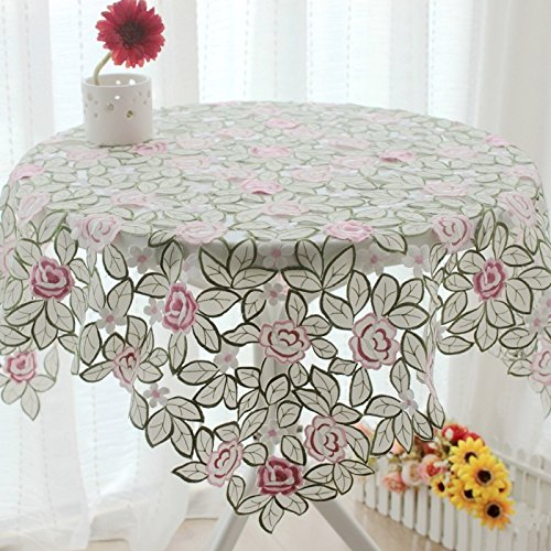 Elegant Green Leaves Dining Table Set,Delicate Pink Rose Embroidered Table Cloths For Weddings,Designer Table Cover