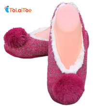 ToLaiToe New Winter Warm Home Women Slipper Cotton Shoes Plush Female Floor Shoe Bow-knot Fleece Indoor Shoes Woman Home Slipper