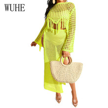WUHE Two Pieces Sets Crochet Hollow Out Handmade Fringed Dress Sexy Perspective Openwork Long Sleeve Grid Summer Beachwear