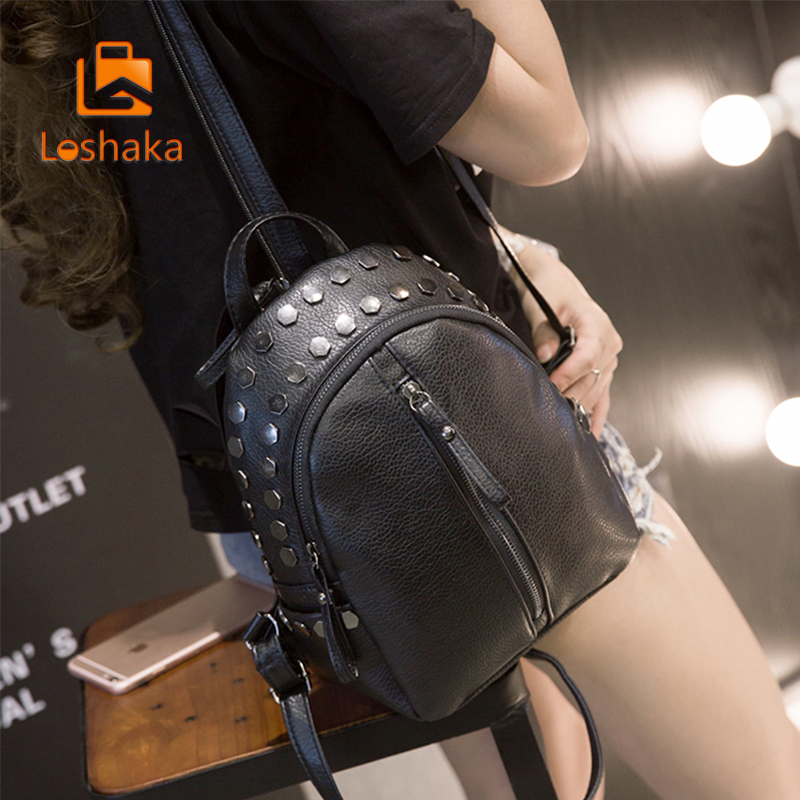 Loshaka Small Women Backpacks Rivet Zipper Pu Leather Student Backpack Preppy Fashion Bag Girls Women's Backpack #3