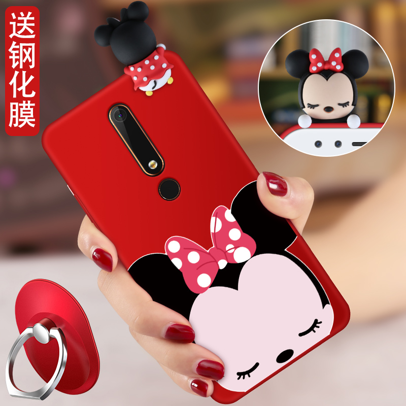 For 2018 Nokia 6 Cartoon 3D Mickey Mouse Minnie phone Cases For Nokia 6 2018 Soft silicon minnie back cover + Strap