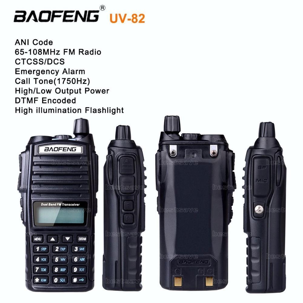 10Pcs BAOFENG UV-82 VHF UHF Dual Band 136-174/400-520 2-PTT Two Way Radio +Cable+earpiece+UK PL ES DE stock