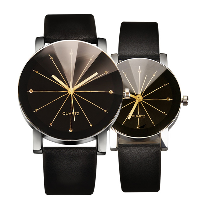 Fashion Male Business Watch Couple Round Case Watches Female Clock Leather Alloy