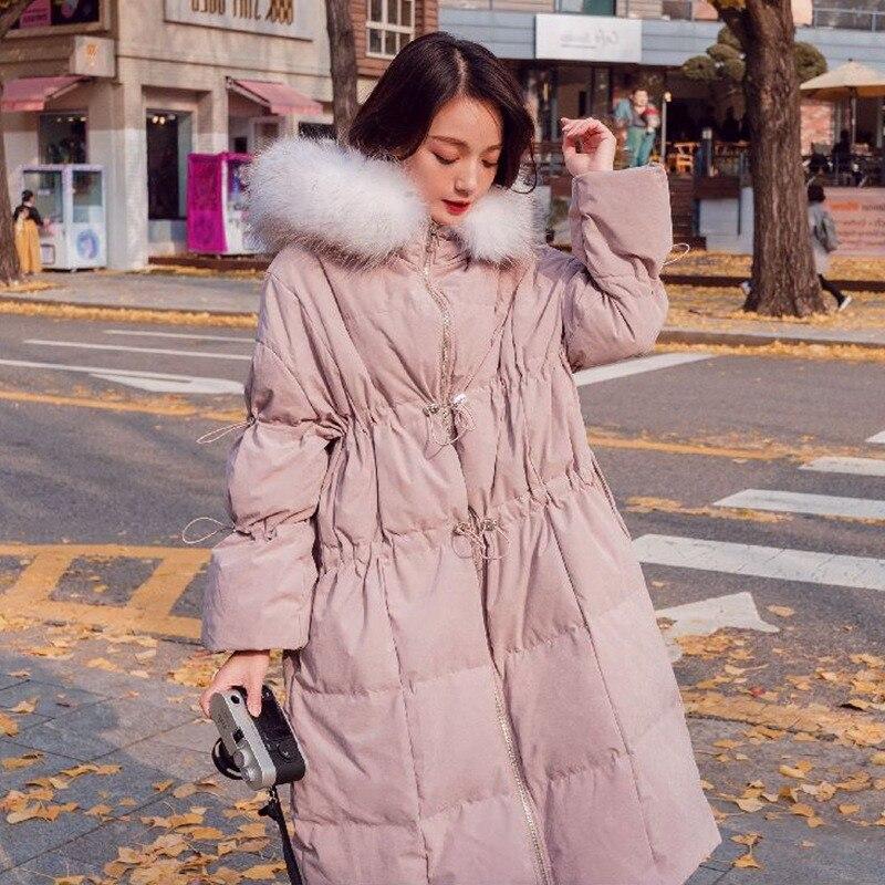 Blue Parka Peau De Épais Long Nouvelle À Taille Cordon 2018 Pêche Hirsionsan Manteau pink Femelle Chaud Hiver Femmes Col Coréen Capuche Fourrure 4xCqnpRAw