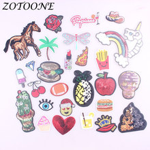 ZOTOONE Horse Pineapple Unicorn Patch Iron on for Clothing Embroidery Skull Sequin Sticker Badge DIY Apparel  Accessories