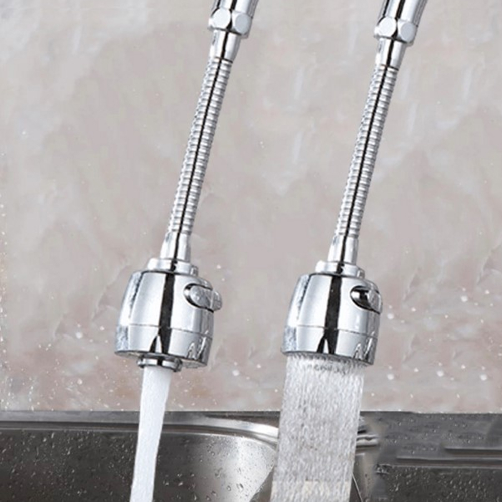 Silver Double handle Kitchen Water Tap Sink Single Hole Water Tap 360 Degree Swivel Hole
