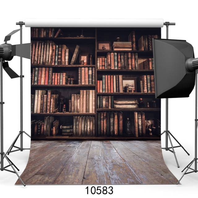Vinyl Backgrounds For Photography Bookshelf Wooden Floor Computer Printed Photo Backdrops Photocall Weddings Children Baby