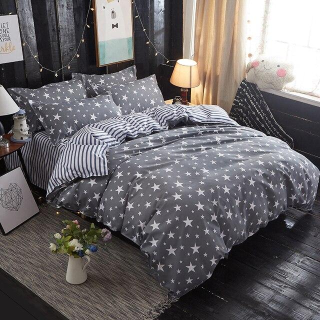 Fashion Star Spangled / leaves duvet cover Bedding set Cotton flat sheet duvet cover pillowcase dekbedovertre super king linen
