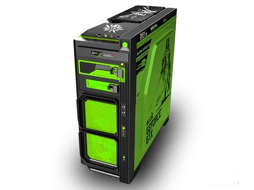 Computer chassis ATX Titans game  New equipment sword of the Spirit green  MOD Chassis spro necton atx green 3000