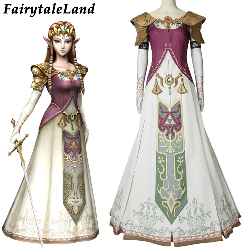 The Legend of Zelda Twilight Princess Cosplay Costume Halloween Zelda Princess Cosplay clothing Dress Custom Made With Headwear