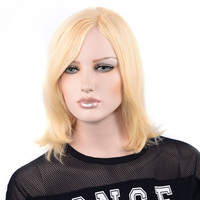 LADYSTAR Remy Human Hair Wig Bob Straight Hair Wig Front Part Hand Made Wigs For Women #613 Color 150% Density Bob Wig