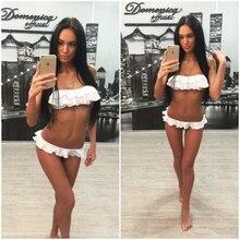 2017 Women Push Up Bikini Set Sexy Pleated Ruffle Biquini Brasileiro Bandeau Halter Swimsuits Female Flounced Low Waist Swimwear