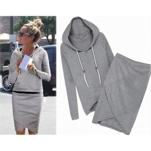 Hot Sale Fashion Women Full Sleeve Casual Winter Hoodies Sweatshirts Dress Skirts Sets