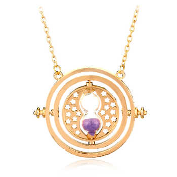 205pcs/lot Time Turner Hermione Granger Rotating Spins Hourglass Necklaces & Pendant Gold Color Time Backflow Converter Necklace