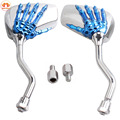 8MM 10MM Universal Motorcycle Mirror Chrome Blue Skeleton Skull Hand Claw Rearview Mirror Scooter Modification For Harley Honda