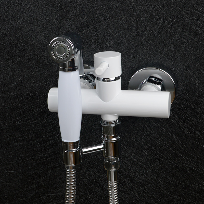 Exempt From Drilling White Stoving Varnish Hot and Cold Bidet Bathroom Shower Toilet Jet Cleaner Spray Wall Mount Faucet smart thermostatic bidet mixer spray shower set faucets bathroom hot cold water hand held toilet bidet spray gun chrome in wall