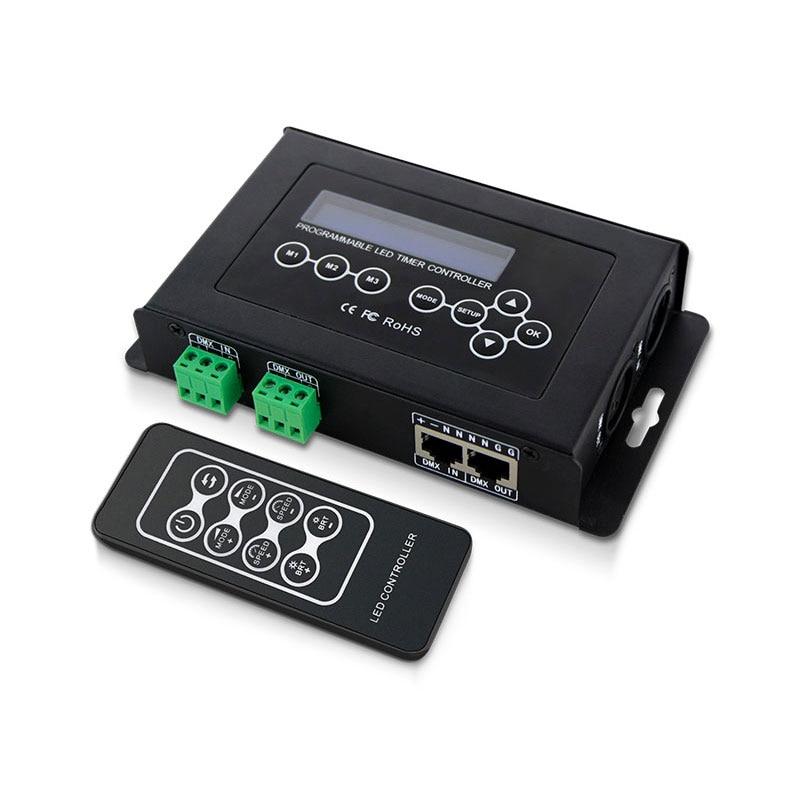 лучшая цена DC9V LCD Screen DMX512/1990 Output Signal DMX512 Mastaer Programme LED Timer Controller With RF Wireless Remote Control