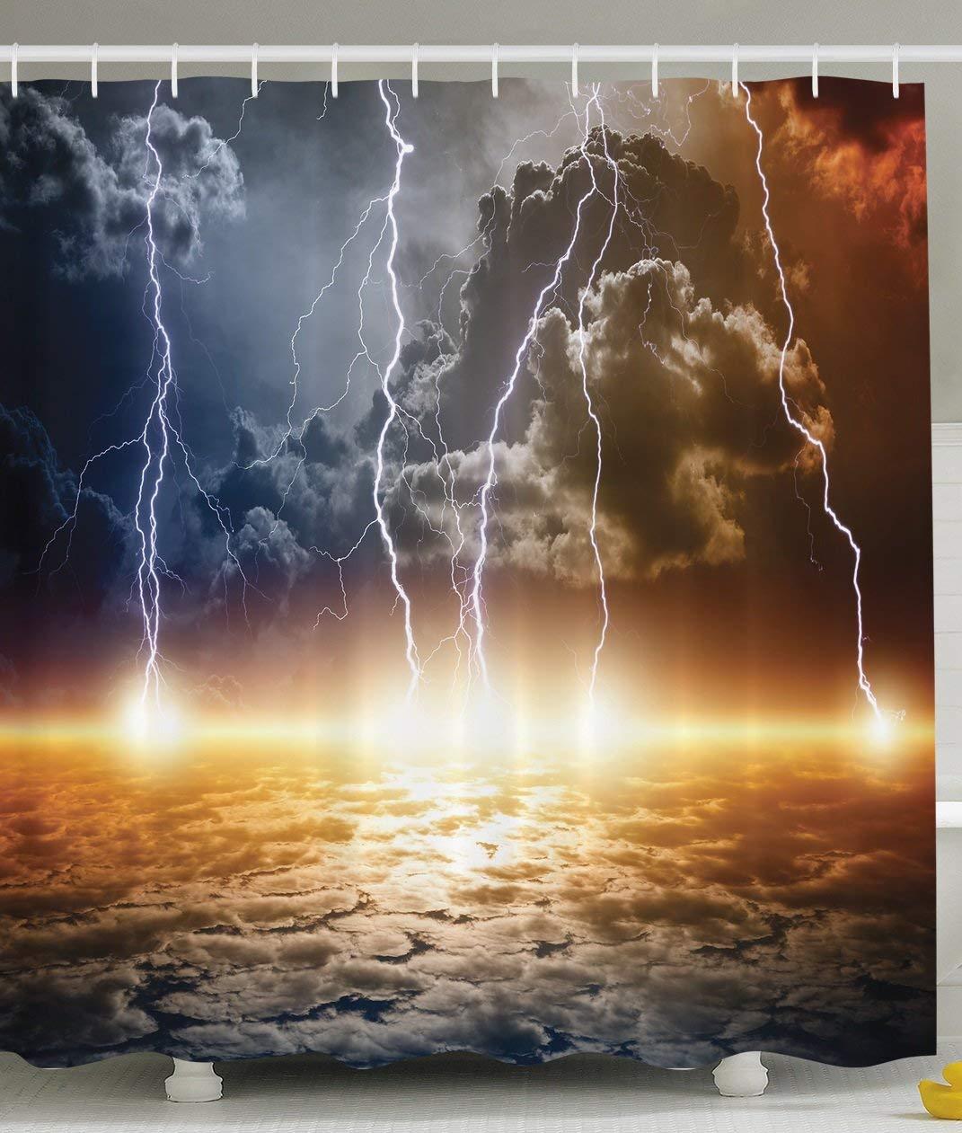 US $14.17 38% OFF|Shower Curtain Bathroom with Lightning Storm Rainy on water bathroom design, black and white bathroom design, beach bathroom design, faith bathroom design, under the sea bathroom design, home bathroom design, arts and crafts bathroom design, classic bathroom design,