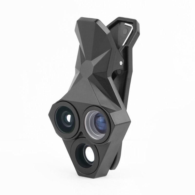 2018 Mobile Phone External Camera Len 3 in 1 Rhombus Shape Wide Angle 20XMacro Fish Eye Lens for Samsung S8+ S6 edge Lense