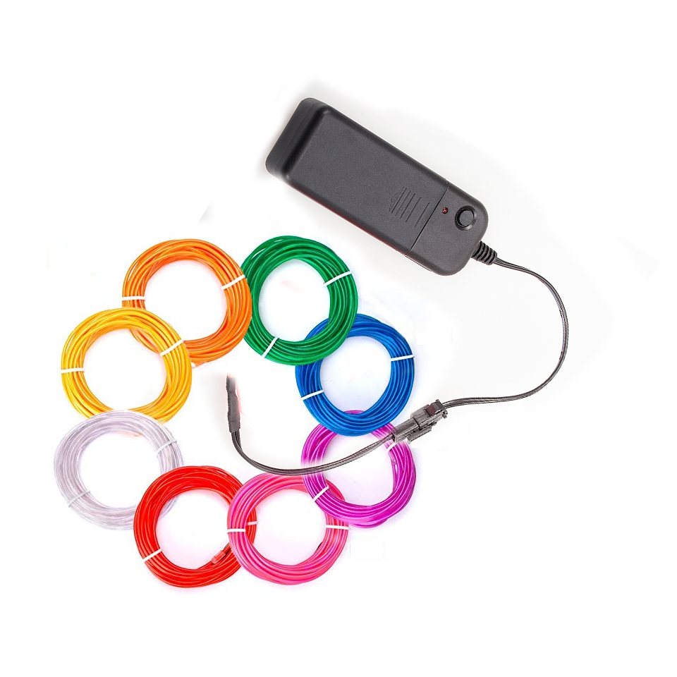Outdoor Lighting 5m/3m/2m 3v Aa Controller Flexible Neon Light Glow El Wire Rope Tube Tape Waterproof Led Neon Lights Shoes Clothing Car Decor Agreeable Sweetness Lighting Strings