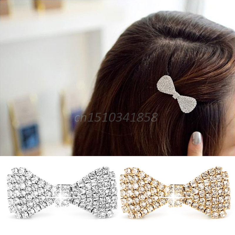 2017 Girls Rhinestone Hair Clip Fashion Bowknot Barrette Clamp Hairpin Accessary #Y51#