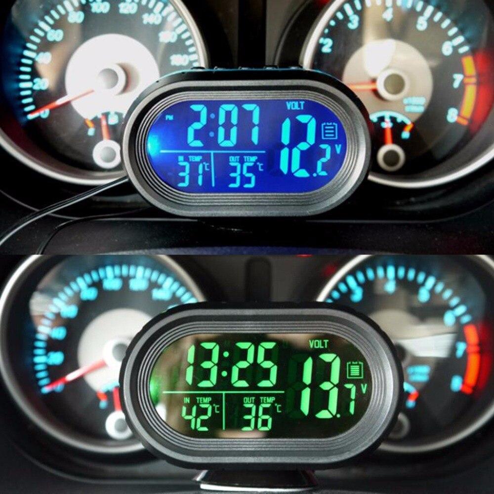 Novo carro digital lcd relógio de voltímetro termômetro tensão da bateria temprerature monitor dc 12 v-24 v congelar alerta