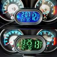 NEUE Digitale Auto LCD Uhr Voltmeter Thermometer Batterie Spannung Temprerature Monitor DC 12 V-24 V Einfrieren Alarm