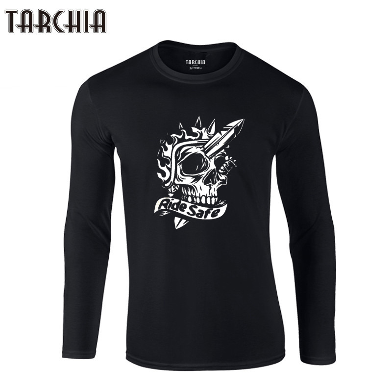 TARCHIA 100% Cotton Plus Size Men's Tee Fashion tee 2019 Brand Free Shipping Eur Size Long Sleeve Men T-Shirt skull