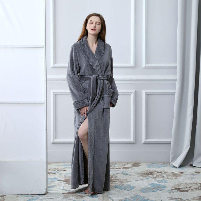 2019 Frauen Mantel Ankle-länge Flanell Bademantel Peignoir Dressing Kleider Badjas Winter Frauen Kleidung Paare Robe