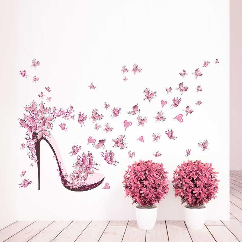الإبداعي عالية الكعب أحذية تحلق الفراشات الزهور جدار الفن الشارات ل غرفة المعيشة للازالة pvc ملصقات ديكور ديي