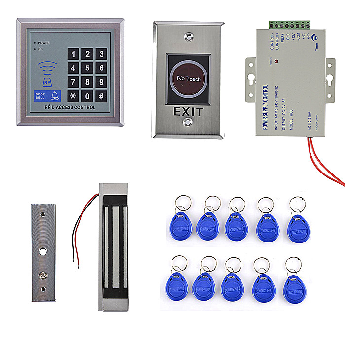 300LBS Magnetic Door lock+EM Card Access Control System With EM Reader Full Kit +Power Supply metal rfid em card reader ip68 waterproof metal standalone door lock access control system with keypad 2000 card users capacity