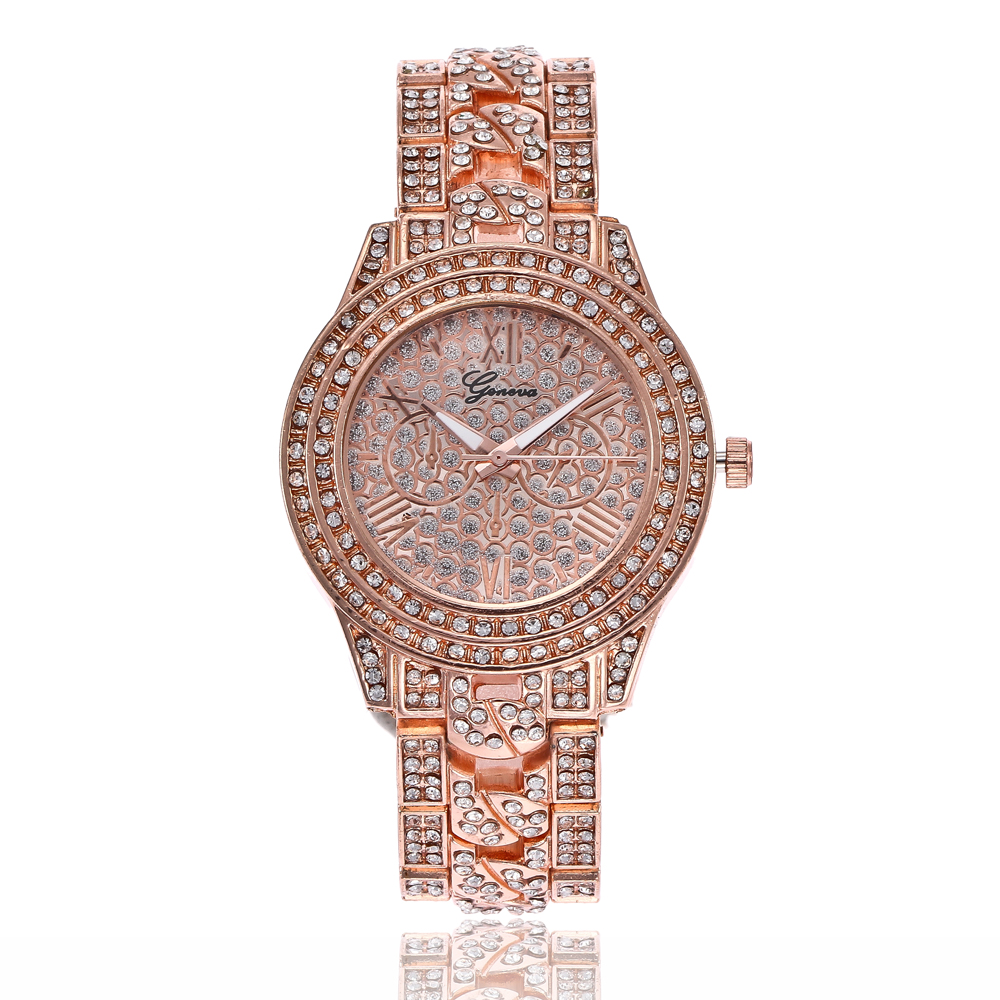 Hot Selling Women Silver & Rose Gold Watch Luxury Fashion Women Rhinestone Quartz Wristwatches Gift Clock Relogio Feminino