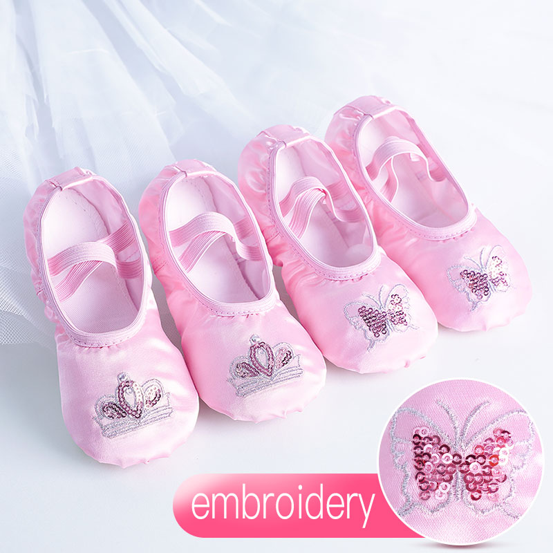 Satin Ballet Shoes Kids Girls Embroider Shiny Dance Slippers Split Sole Gymnastics Yoga Dancing