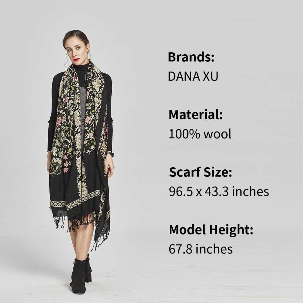 100% шерсть, пончо, головные шарфы для женщин, Элегантная Дамская накидка и теплая шаль, длинные палантины с животным принтом, бандана, шарф, хиджаб, роскошный бренд
