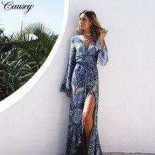2019 New Womens Best Selling Long Sleeve Bohemian dress Beach Cover Dress elegant
