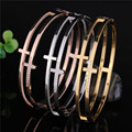 Fashion Stainless Steel Women PVD Gold Filled Bangles Bracelet Rose Gold Cross Designer CZ Crystal Femme Fine Jewelry Wholesales
